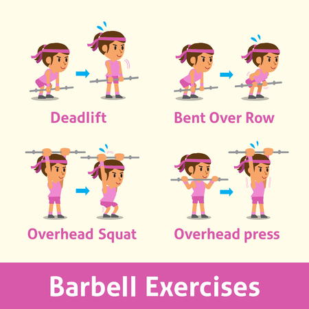 Cartoon set of a woman doing barbell exercise step for health Illustration