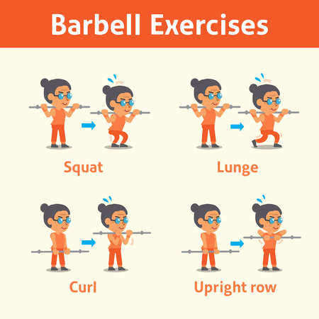 sport woman: Cartoon set of old woman doing barbell exercise step for health and fitness