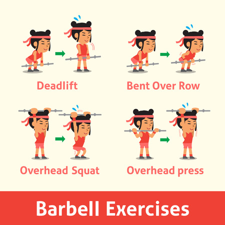 strength training: Cartoon set of woman doing barbell exercise step for health
