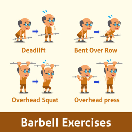 cartoon man: Cartoon set of old man doing barbell exercise step for health Illustration
