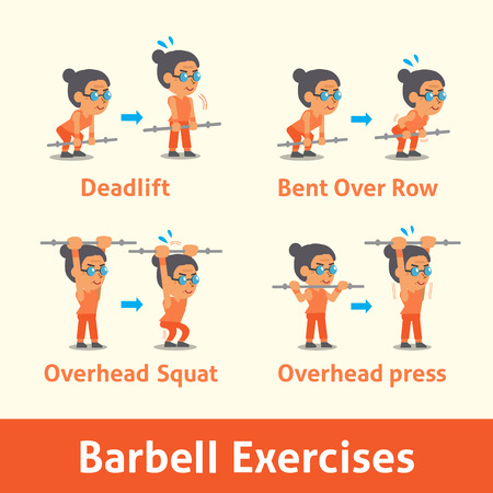 sport woman: Cartoon set of old woman doing barbell exercise step for health