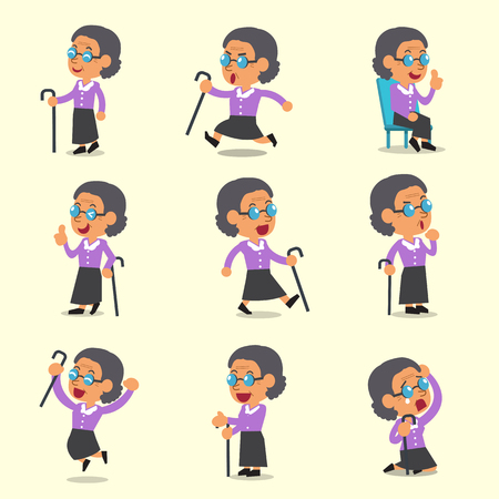 character poses: Cartoon an old woman character poses on yellow background