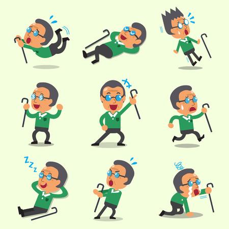 character poses: Cartoon an old man character poses Illustration