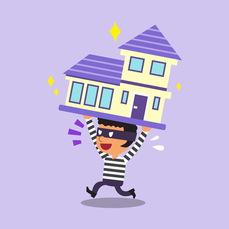 stealing: Cartoon thief stealing a house