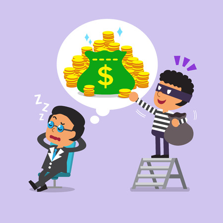 Cartoon thief stealing money from dream of businessman Illustration