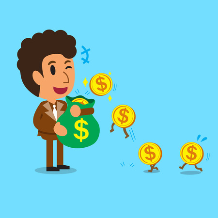 passive earnings: Business concept cartoon businessman earning money Illustration