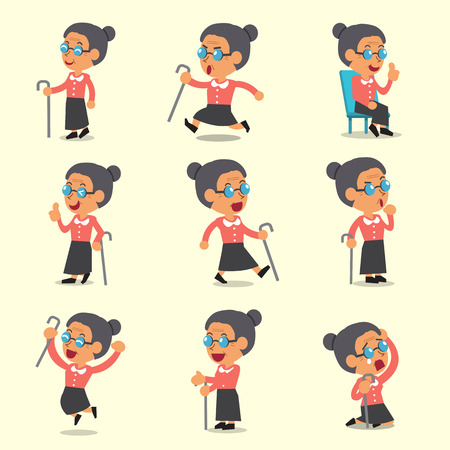 old office: Cartoon old woman character poses on yellow background Illustration
