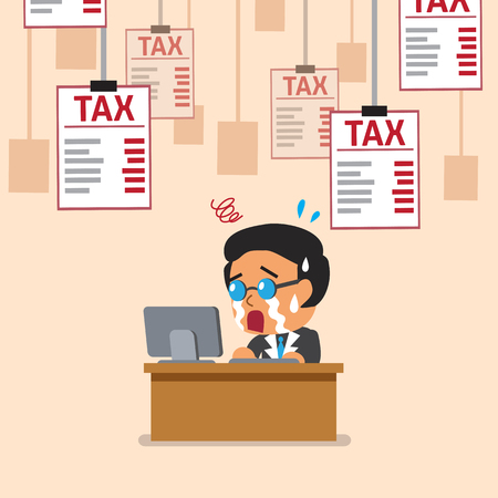 controlling: Cartoon businessman and tax letters