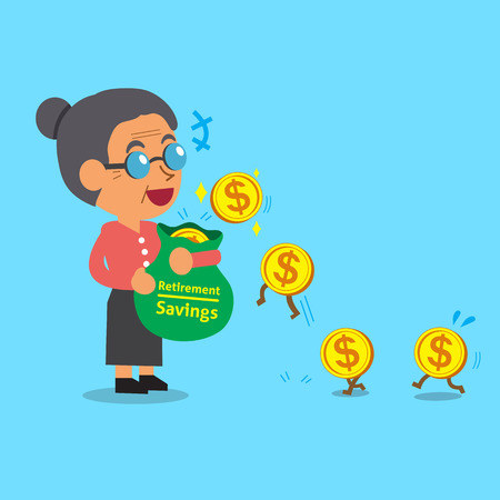earning: Business concept cartoon old woman earning money Illustration