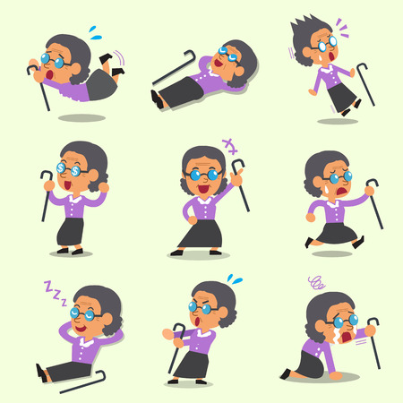 character poses: Cartoon an old woman character poses Illustration