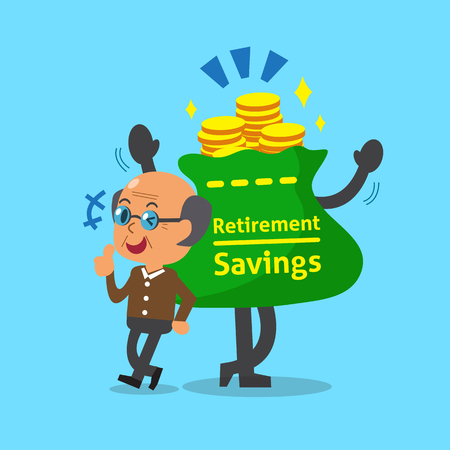 Cartoon old man with retirement savings bag and coins