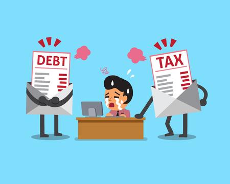 빚: Cartoon businessman with debt and tax letter