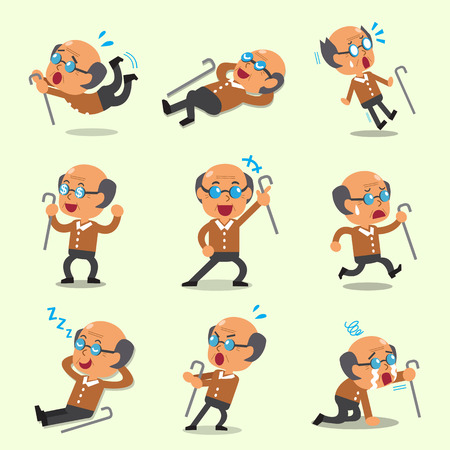 cartoon old man: Cartoon old man character poses
