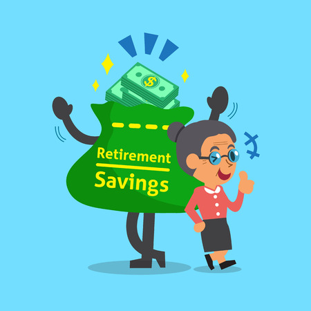 retirement savings: Cartoon old woman with retirement savings bag and coins Illustration