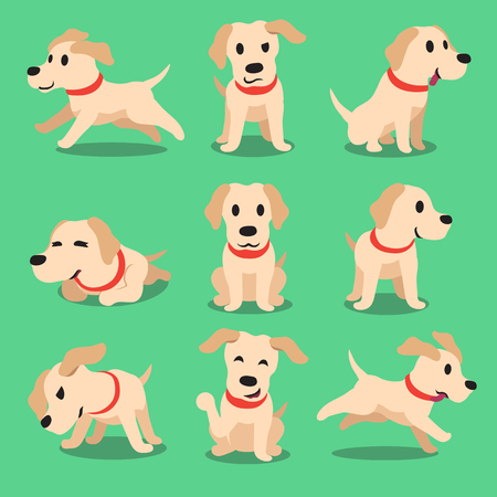 dog run: Cartoon character labrador dog poses