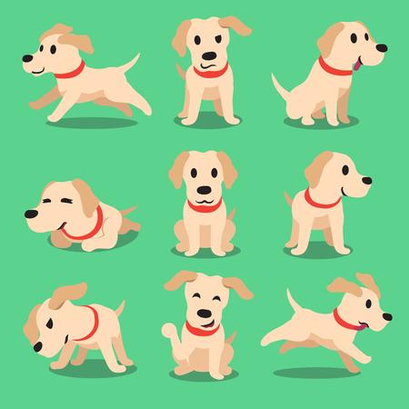 perro labrador: Labrador carácter poses perro de dibujos animados