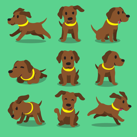 Cartoon character brown labrador dog poses Иллюстрация