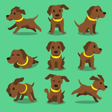 Cartoon character brown labrador dog poses Illustration