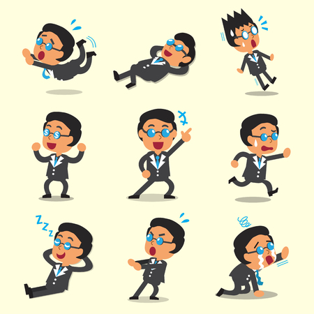 character poses: Cartoon business boss character poses on yellow background