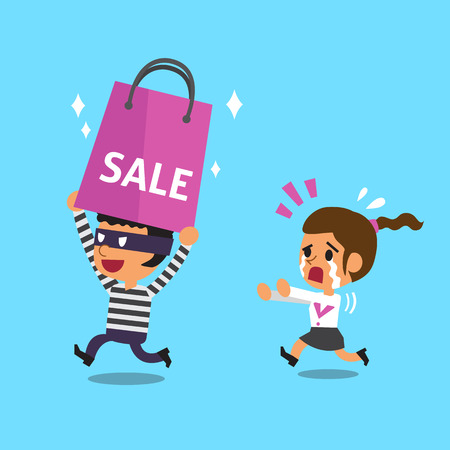escape plan: Cartoon thief stealing a big shopping bag from woman