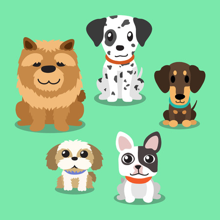 tzu: Cartoon dogs standing Illustration