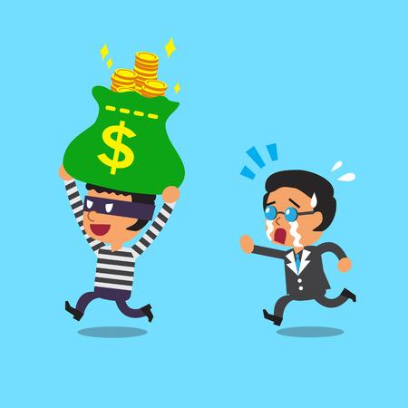 Cartoon thief stealing money bag from businessman Illustration