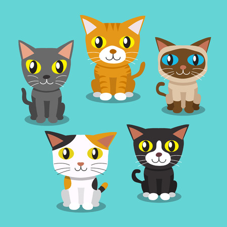 black family smiling: Cartoon cats standing Illustration
