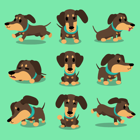 dog run: Cartoon character dachshund dog poses collection