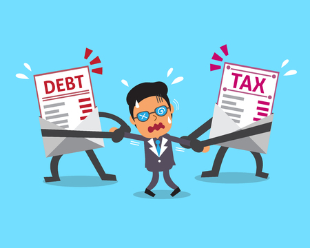 uptight: Cartoon character debt letter and tax letter pulling businessman