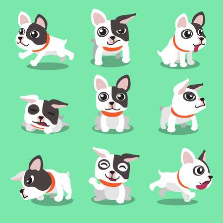 Personaje de dibujos animados poses bulldog francés Vectores