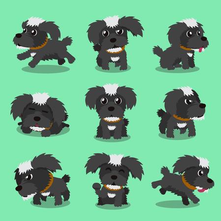 maltese dog: Cartoon character black maltese dog poses Illustration