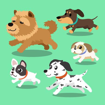 bull dog: Cartoon dogs running Illustration