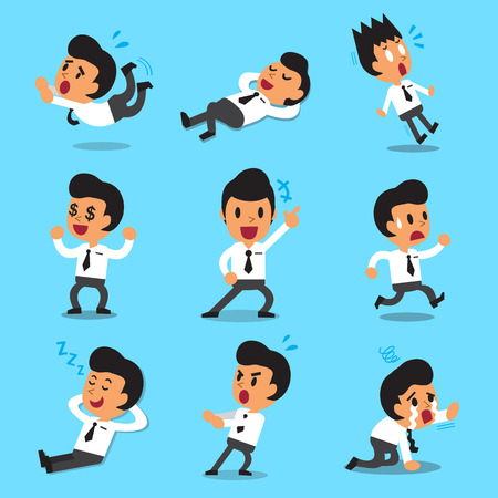 young people fun: Cartoon businessman character poses
