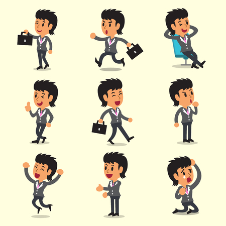 character poses: Cartoon businesswoman character poses Illustration