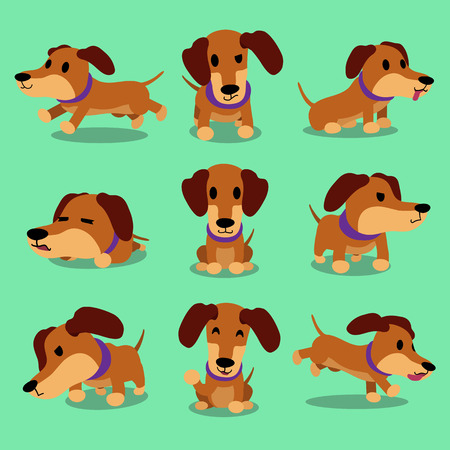 Cartoon character dachshund dog poses Иллюстрация