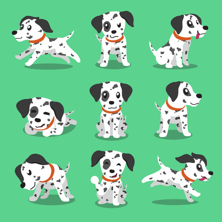 white dog: Cartoon character dalmatian dog poses Illustration