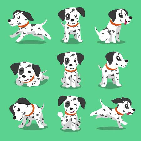 cartoon: Dálmatas carácter poses perro de dibujos animados Vectores