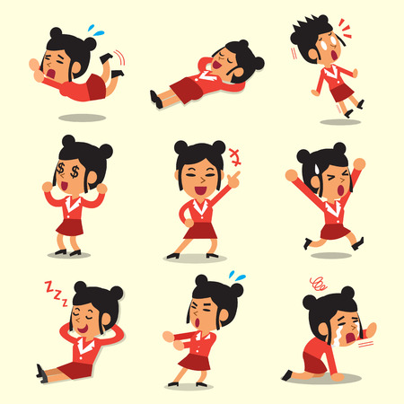 character poses: Cartoon businesswoman character poses on yellow background Illustration