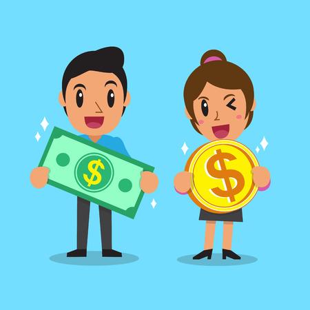 Cartoon Geschäftsleute Geldhaltung Standard-Bild - 48757769