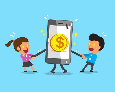 pulling: Cartoon business team pulling smartphone with big coin icon
