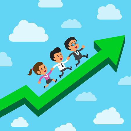 marketing team: Cartoon business team running on a green arrow