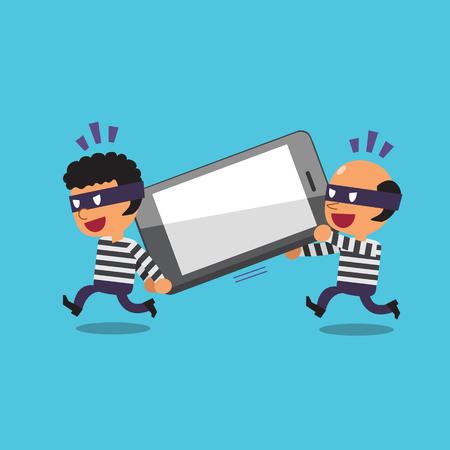 Diebe stehlen Cartoon großen Smartphone Standard-Bild - 48757772