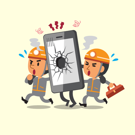 telephone cartoon: Cartoon technicians helping broken smartphone