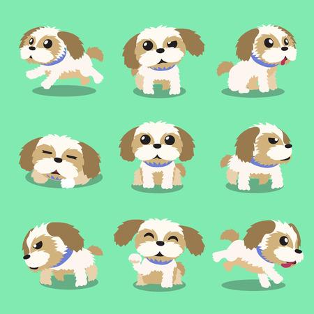 Cartoon Charakter Shih Tzu Hund Posen Standard-Bild - 48757933