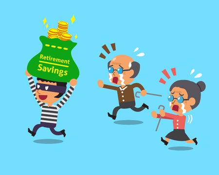 ladron: ladrón que roba la historieta bolsa de ahorro para el retiro