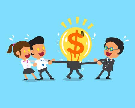 pulling money: Cartoon business team and boss pulling big money idea Illustration