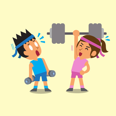 Cartoon man and woman doing weight training