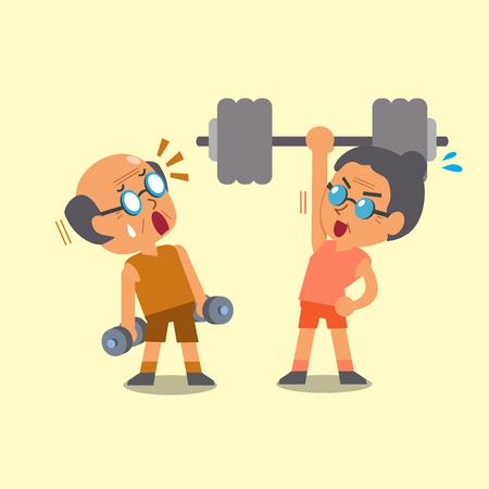 hombre fuerte: De dibujos animados anciano y anciana haciendo entrenamiento con pesas
