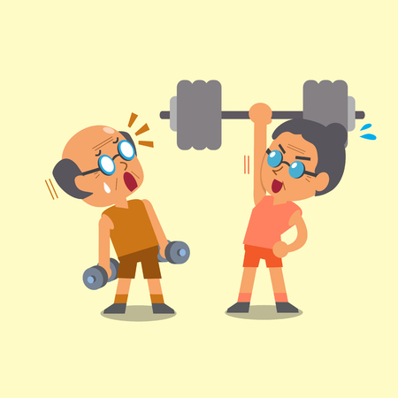 Cartoon old man and old woman doing weight training