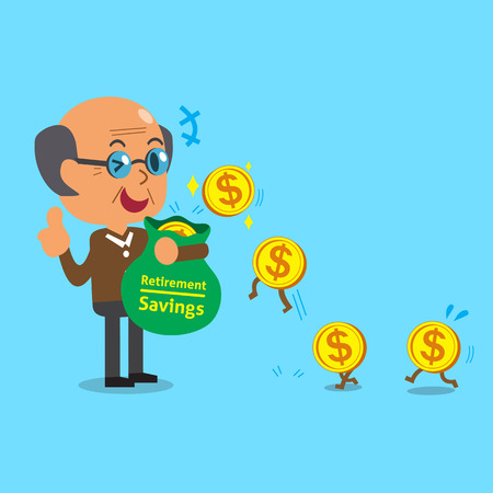 earning: Business concept cartoon old man earning money